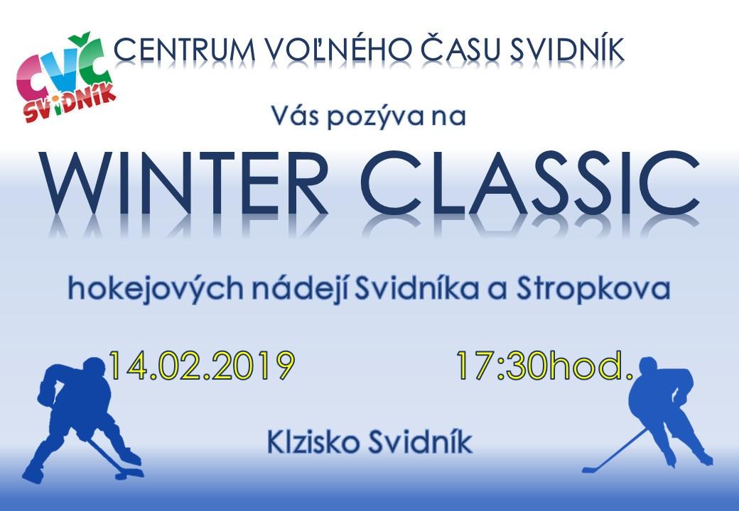 Centrum voľného času pozýva nadšencov hokeja na WINTER CLASSIC - hokejových nádejí Svidníka a Stropkova dňa 14.02.2019 o 17:30 Klzisko Svidník